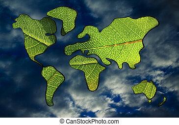 mapa, folhas, economia, verde, mundo, coberto