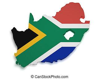 mapa, forma, áfrica, sur, 3d