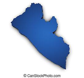 mapa, forma, 3d, liberia