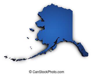 mapa, forma, alasca, 3d