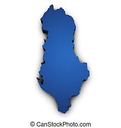 mapa, forma, albânia, 3d
