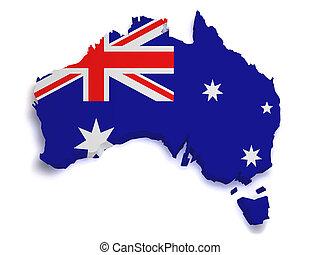 mapa, forma, austrália, 3d
