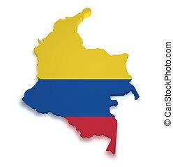 mapa, forma, colômbia, 3d