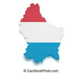 mapa, forma, luxemburgo, 3d