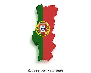 mapa, forma, portugal, 3d