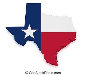 mapa, forma, texas, 3d