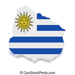 mapa, forma, uruguai, 3d
