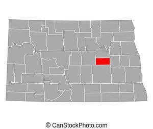 mapa, foster, dakota, norte