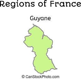 mapa, francja, administracyjny, francuski,  guiana