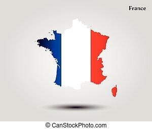 mapa, francja