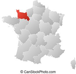 mapa, -, francja, niższy, normandy