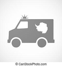 mapa, furgon, isolado, antártica, ambulância, ícone