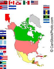 mapa, główny, kraj, bandery, ameryka północy