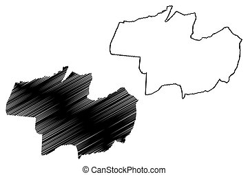 mapa, garabato, debrecen, (hungary, hajdu-bihar, vector, ...