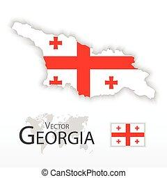 mapa, geórgia, transporte, ), (, bandeira, conceito, república, turismo