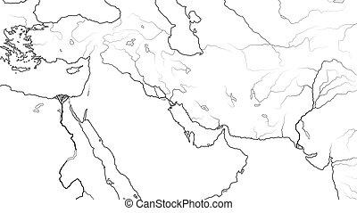 mapa, (geographic, asia oriental, medio, levant, este, east...