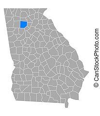 mapa, georgia, cherokee