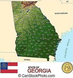 mapa, georgia, condados