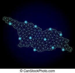 mapa, georgia, res muerta, luz, puntos, polygonal, malla, país