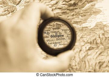 mapa, glasgow