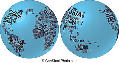 mapa, globo, nome, mundo, país
