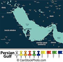 mapa, golfo pérsico