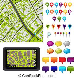 mapa, gps, ícones