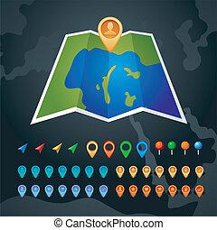 mapa, gps, vetorial, ícones
