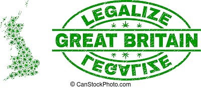 mapa, grande, grunge, colagem, folhas, legalize, marijuana, selo, inglaterra, selo