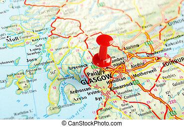 mapa, grande, scotland;, gran bretaña, glasgow