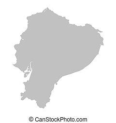 mapa, gris, ecuador