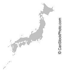 mapa, gris, japón