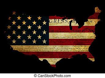 mapa, grunge, bandeira, declaração, américa, independência