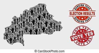 mapa, grunge, burquina, colagem, selo, faso, selo, voto, sim, eleição
