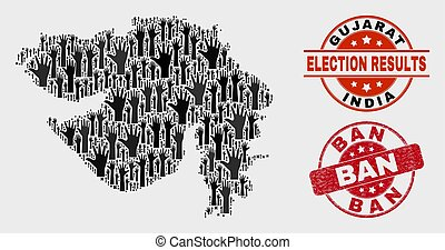 mapa, grunge, colagem, voto, estado, gujarat, proibição, selo