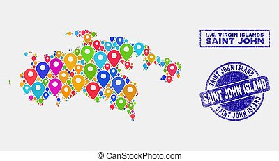 mapa, grunge, collage, isla, marcadores, sellos, estampilla, st. john