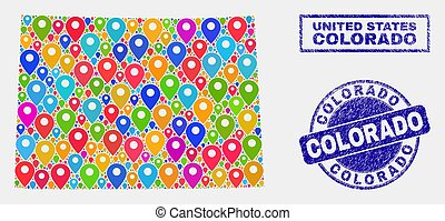 mapa, grunge, colorado, colagem, ponteiros, selos, estado
