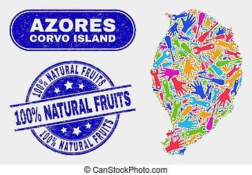 mapa, grunge, corvo, isla, 100%, componente, sellos, fruits, natural
