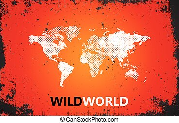 mapa, grunge, illustration., afisz, świat, dziki, poster.