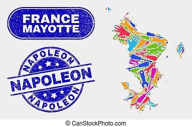 mapa, grunge, mayotte, sellos, producción, islas, napoleon