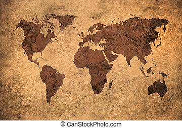 mapa, grunge, mundo