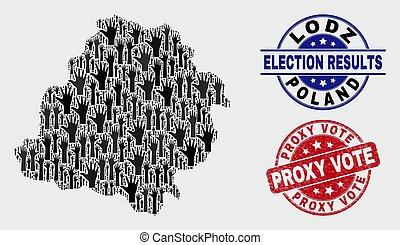 mapa, grunge, voivodeship, colagem, lodz, proxy, selo, voto, voto, selo