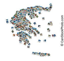 mapa, hecho, collage, viaje, -, fotos, grecia