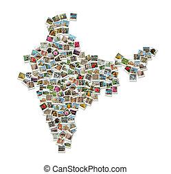 mapa, hecho, collage, -, viaje, india, fotos