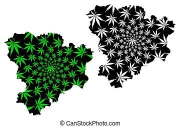 mapa, hecho, hoja, federación, negro, (marihuana, marijuana,...