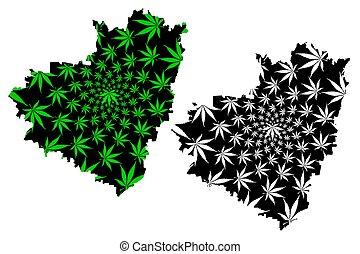 mapa, hecho, hoja, follaje, federación, marijuana,...