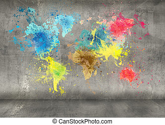mapa, hecho, pintura, pared, concreto, salpicaduras, plano...