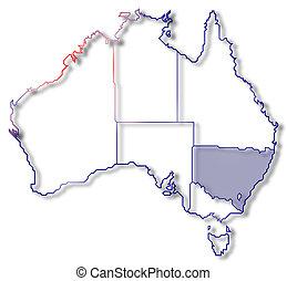 mapa, highlighted, nowy, australia, walia, południe