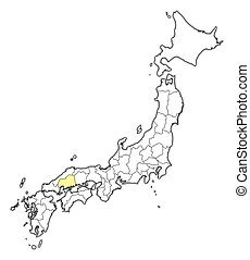 mapa, -, hiroshima, japón