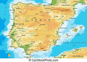 mapa, hiszpania, fizyczny